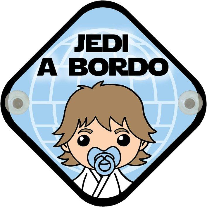Cartel madera Bebé a bordo. Jedi a bordo. Parodia. Bebé friki.