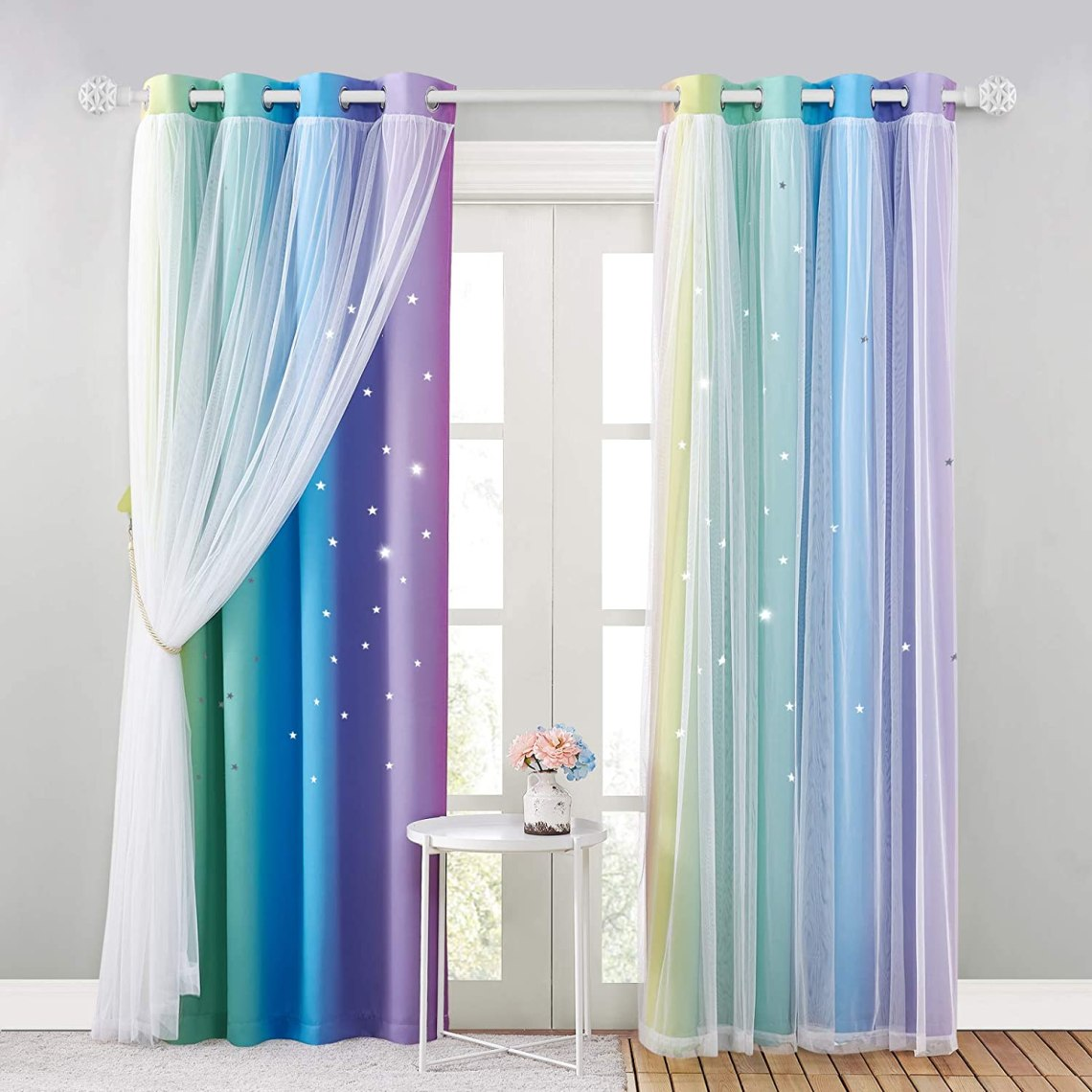 Amazon Com Nicetown Kids Room Decor For Girls Kids Baby Girl Nursery Decor For Girls Room Rainbow Printing Curtain Panels Paradise Whimsy Home Decoration Drapes Rainbow 2 2 Pieces W104 X L95 Home