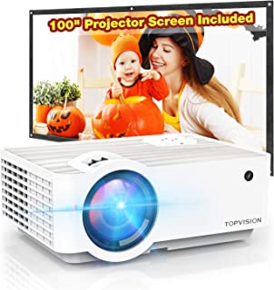 "Video Projector, TOPVISION 5500L Portable Mini Projector with 100"" Projector Screen,.."