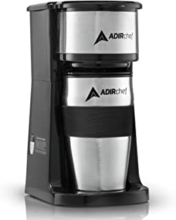 AdirChef Grab N' Go Personal Coffee Maker with 15 oz. Travel Mug, Black/Stainless Steel