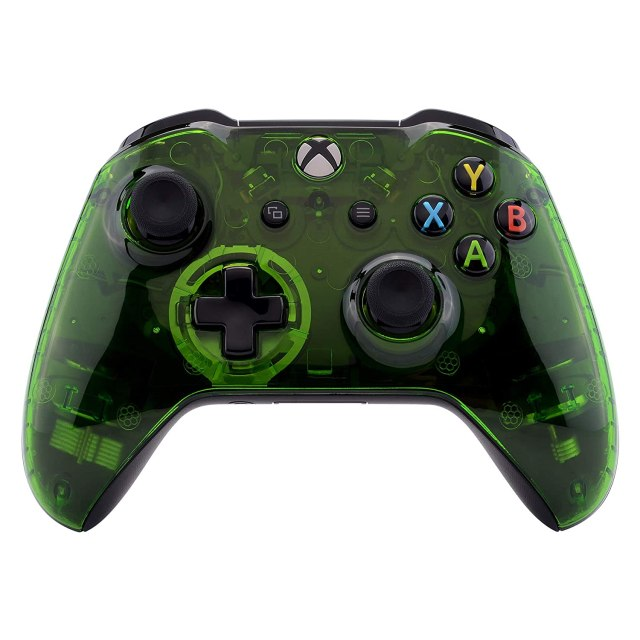 eXtremeRate Transparent Crystal Clear Green Faceplate Cover for Xbox One  Wireless Controller (Model 20), Custom Case Front Housing Shell for Xbox