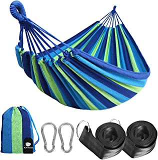 Anyoo Single Cotton Outdoor Hammock Multiples Load Capacity Up to 450 Lbs Portable with..