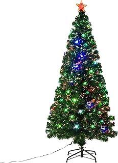 HOMCOM Pre-Lit Noble Fir Artificial Christmas Tree with 230 Tips, 24 Pre-Programmed Fiber..