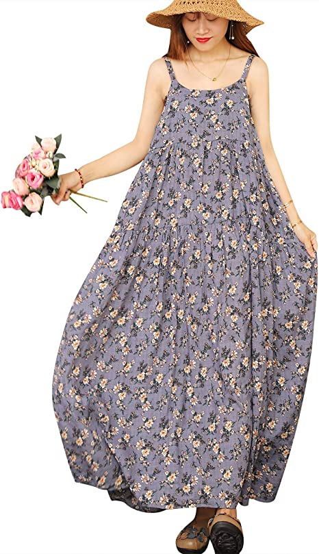 long purple floral summer dress