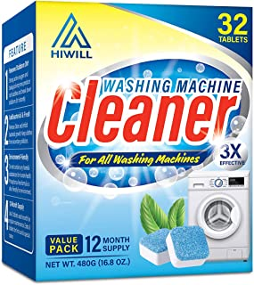 Hiwill Washing Machine Cleaner Effervescent Tablets, 32 Solid Deep Cleaning Tablet,..