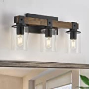 DUJAHMLAND Farmhouse Vanity Light Fixture ,3-Light Bathroom Wood Wall Light Over Mirror with Clear Glass Shade, Rustic Vintage Wall Sconce Lighting.(Antique Wood, 3-Light), Opens in a new tab