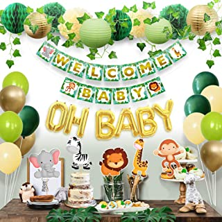 Sweet Baby Co. Jungle Theme Safari Baby Shower Decorations with Banner, Animal..