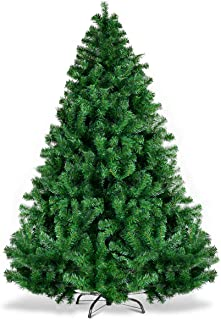 Goplus 6ft Artificial Christmas Tree, Unlit Premium Hinged Spruce Xmas Tree with Solid..