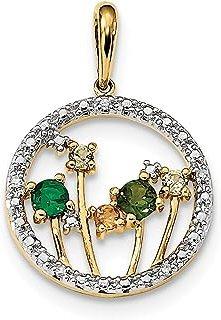 Colgante de oro amarillo de 14 quilates con diamante de diopsia cromado