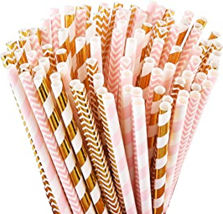 ALINK Biodegradable Paper Straws, 100 Pink Straws/Gold Straws for Party Supplies,..