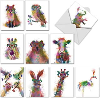 Funky Rainbow Wildlife, Box of 10 Blank Watercolor Note Cards with Envelopes – All..