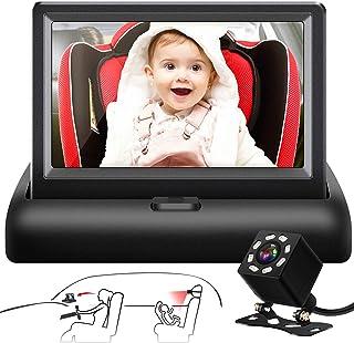 Shynerk Baby Car Mirror, 4.3'' HD Night Vision Function Car Mirror Display,..