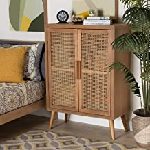 Finnhomy Sideboard Buffet Cabinet, Kitchen Storage Cabinet with Rattan Decorated Doors