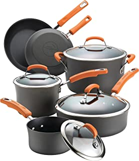 Rachael Ray 87375 Brights Hard-Anodized Aluminum Nonstick Cookware Set with Glass Lids,..