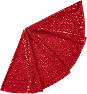 ShinyBeauty Sequin Tree Skirt 24Inch Christmas Tree Skirt Embroidered Sparkly Red Xmas..