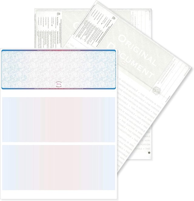 Blank High Security Top Computer Checks, 27 Blue/Red Checks