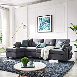 HONBAY Reversible Sectional Sofa Couch for Living Room L-Shape Sofa Couch 4-seat Sofas..