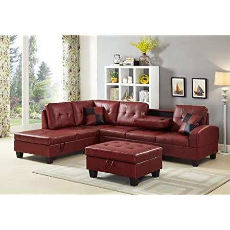 Amazon Com Gtu Furniture Pu Leather Living Room Irreversible Living Room Sectional Sofa Set In Black White Without Ottoman Red Home Kitchen