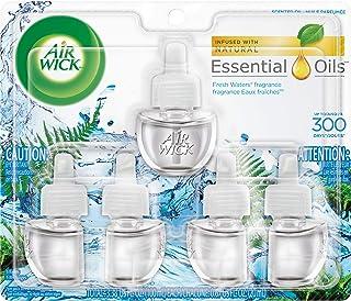 Air Wick plug in Scented Oil 5 Refills, Fresh Waters, (5×0.67oz), Essential Oils, Air Freshener