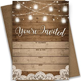 Rustic Fill-in Party Invitations, 25 Invites and Envelopes, Bridal Shower, Baby Shower,..