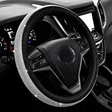 New Diamond Leather Steering Wheel Cover with Bling Bling Crystal Rhinestones, Universal..
