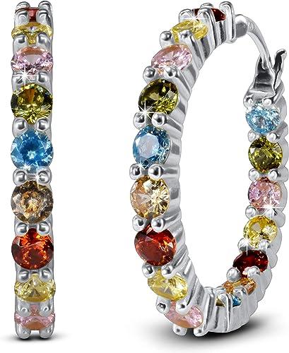 silver coloured stones earring hoops beautiful sale