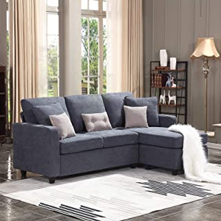 HONBAY Convertible Sectional Sofa Couch, L-Shaped Couch with Modern Linen Fabric for..
