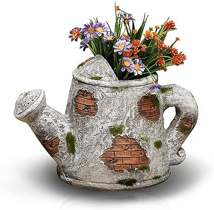 Amazon Com Gf Gardenfans Flower Pot Outdoor Indoor Planter Artistic Designing Kettle Patch Pattern Decor For Garden Patio Yard Home Gifts For Kids 12 5x8 75x9 75in Patio Lawn Garden