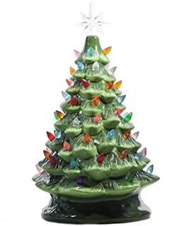 ReLIVE Christmas is Forever Lighted Tabletop Ceramic Tree, 16 Inch Green Tree with..