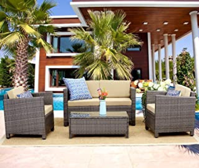 Wisteria Lane Outdoor Patio Furniture Set Piece Conversation Set Rattan Sectional Sofa Couch Loveseat