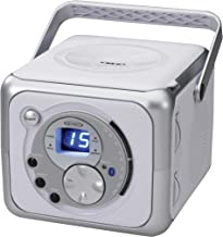 Jensen CD-555 White/Silver CD Bluetooth Boombox Portable Bluetooth Music System with CD..