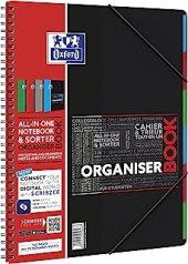 OXFORD OrganiserBook Cahier Spirale + Trieur Format A4+ 160 pages Réglure Lignée 7mm Couverture Polypro Couleur Aléatoire
