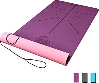 DAWAY Eco Friendly TPE Yoga Mat Y8 Wide Thick Workout Exercise Mat, Non Slip Grip Pilates Mats, Body Alignment System, Tear Resistant, with Carrying Strap, 72