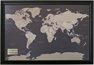 Push Pin Travel Maps Personalized Earth Toned World with Black Frame and Pins –..
