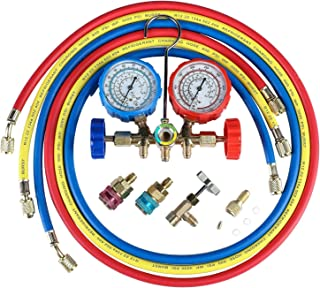 5FT 3-Way AC Diagnostic Manifold Gauge Set for Freon Charging, Fits R134A R12 R22 and..