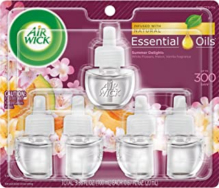 Air Wick plug in Scented Oil 5 Refills, Summer Delights, (5×0.67oz), Essential Oils,..