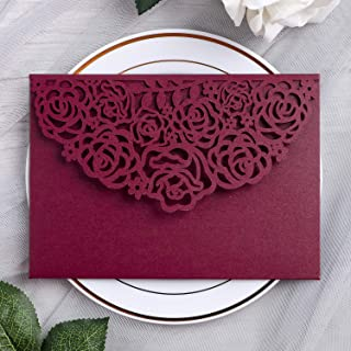 YIMIL 20 Pcs 5.12 x 7.21 inch Tri-fold Laser Cut Wedding Invitation Pocket for Wedding..