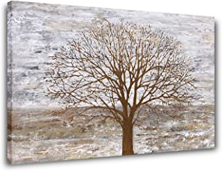 Yihui Arts Abstract Pictures Landscape Wall Art: Gray Tree Painting Artwork on Canvas for Bedroom