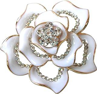18k Gold Plated Crystal Rose Flower Enamel Brooch pins