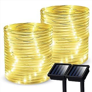 GIGALUMI Outdoor Solar Rope Lights, 2 Pack Solar Powered Outdoor Waterproof Tube Light..