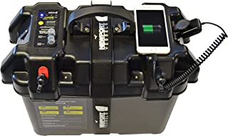 Newport Vessels Trolling Motor Smart Battery Box Power Center with USB and DC Ports, Black, Medium
