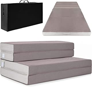 Best Choice Products 4in Thick Folding Portable Twin Mattress Topper w/Carry Case,..