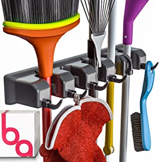Berry Ave Broom Holder and Garden Tool Organizer Rake or Mop Handles Up to 1.25-Inches, 1..