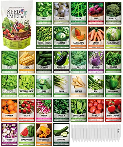 Amazon Com Survival Vegetable Seeds Garden Kit Over 16 000 Seeds Non Gmo And Heirloom Great For Emergency Bugout Survival Gear 35 Varieties Seeds For Planting Vegetables 35 Free Plant Markers Gardeners Basics