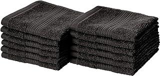 AmazonBasics Fade-Resistant Cotton Washcloths – Pack of 12, Black