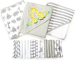 Spasilk 23-Piece Essential Baby Bath Gift Set – Hooded Baby Towels & Washcloths –..