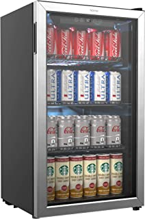 hOmeLabs Beverage Refrigerator and Cooler – 120 Can Mini Fridge with Glass Door for..