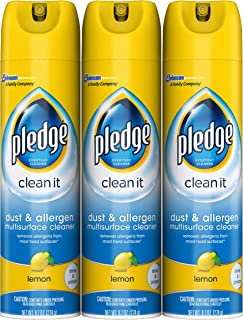 Pledge Dust & Allergen Multi-Surface Disinfectant Cleaner Spray, Works on Leather,..