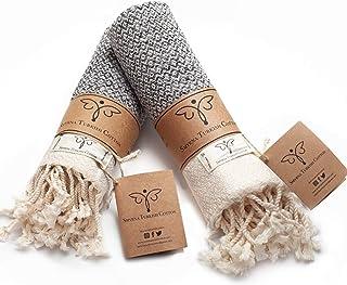 Smyrna Original Turkish Hand Towels Set of 2   100% Cotton, 16 x 40 Inches   Decorative..