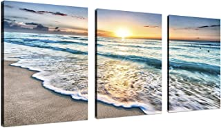 TutuBeer 3 Panel Beach Canvas Wall Art for Home Decor Blue Sea Sunset White Beach..